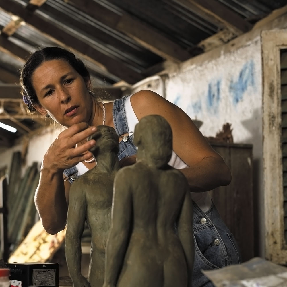 Laura Facey at work in her studio. Photograph by Franz Marzouca