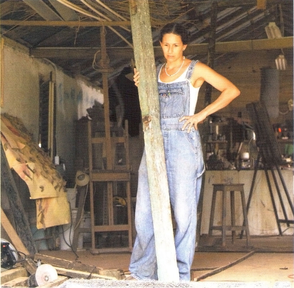 Facey's studio is a small barn-like structure on her farm, right next to a goat pen. Photograph by Franz Marzouca