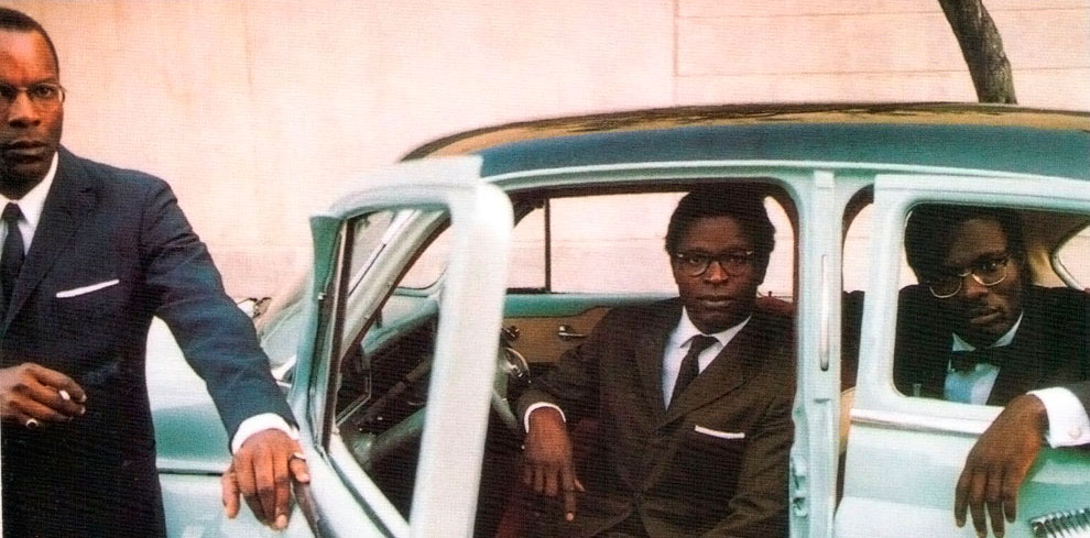 African Independents: Alex Descas as Joseph Mobutu, Theophile Sowie as Maurice Mpolo, and Eriq Ebouaney as Patrice Lumumba. Photograph by Francoise Hugaux/ Courtesy JBA Production/ Velvetfilm