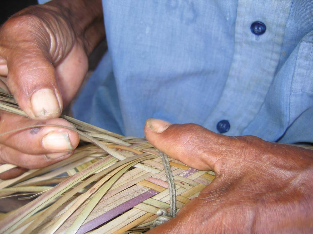 Traditional palm-fibre weaving demonstrated at Nappi. Photo by Leon Wainwright