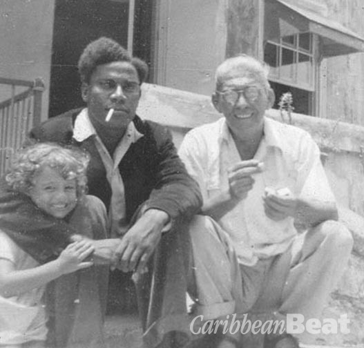 With daughter Martine Collymore and George Lamming (cigarette in mouth), in 1955.