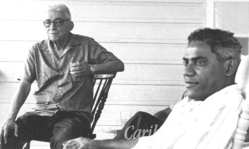Collymore with George Lamming in Jamaica in 1968, during his visit to receive an honorary degree from the University of the West Indies