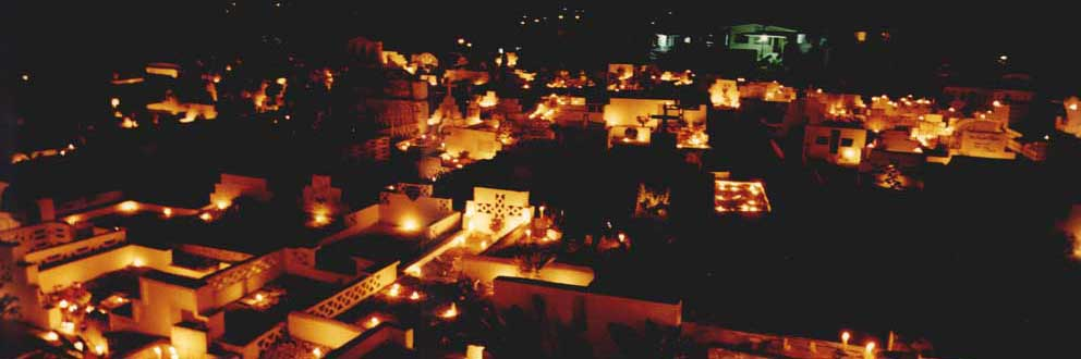 The cemetery in St. Joseph Trinidad on All Souls' night. Photograph by Alex Smailes