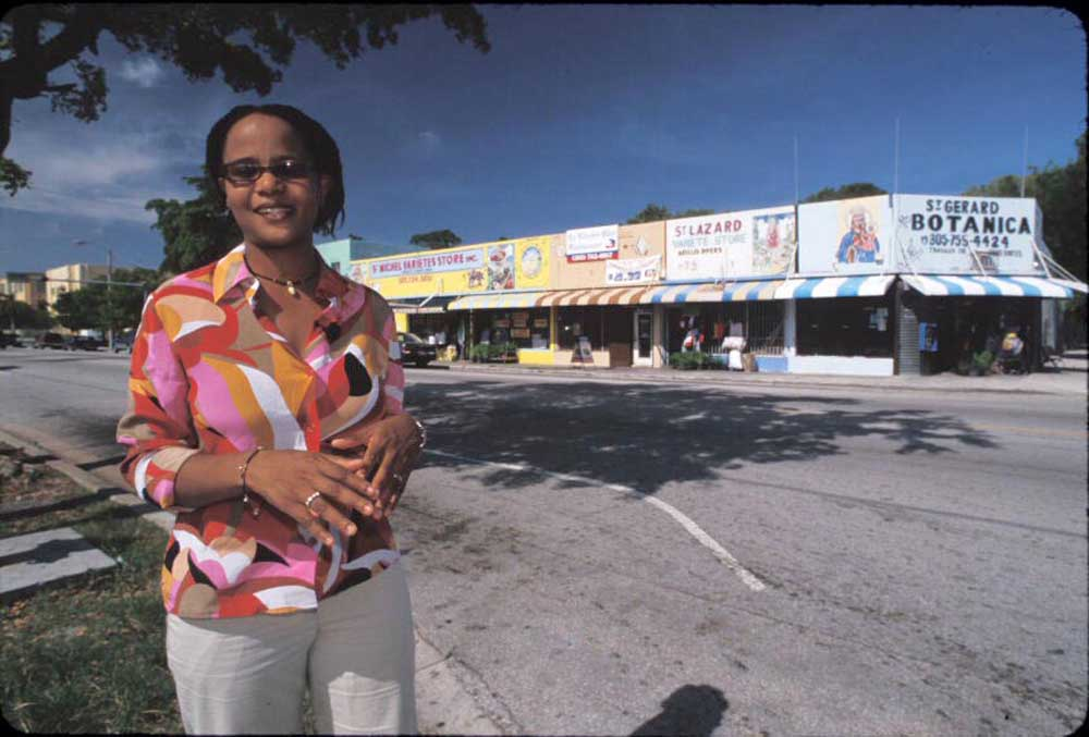 Edwidge Danicat spending a quiet day in Miami's Little Haiti. Photograph by Renaldo Rotolo