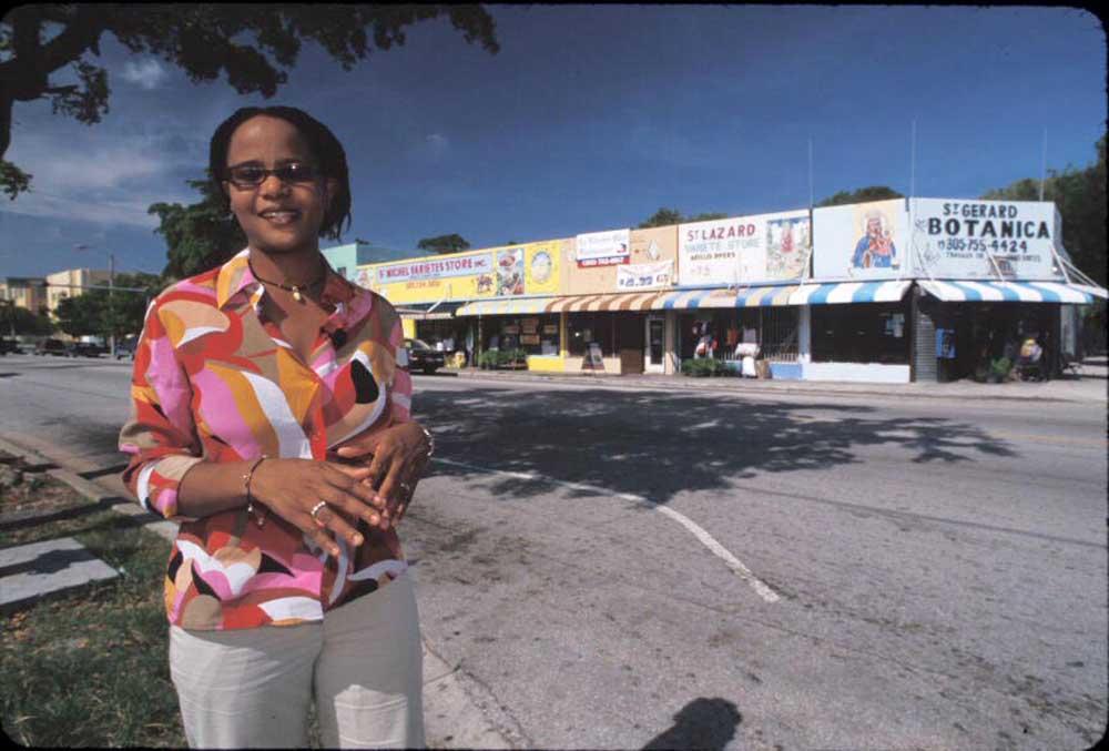 Edwidge Danicat spending a quiet day in Miami's Little Haiti. Photograph by Renaldo Rotolo