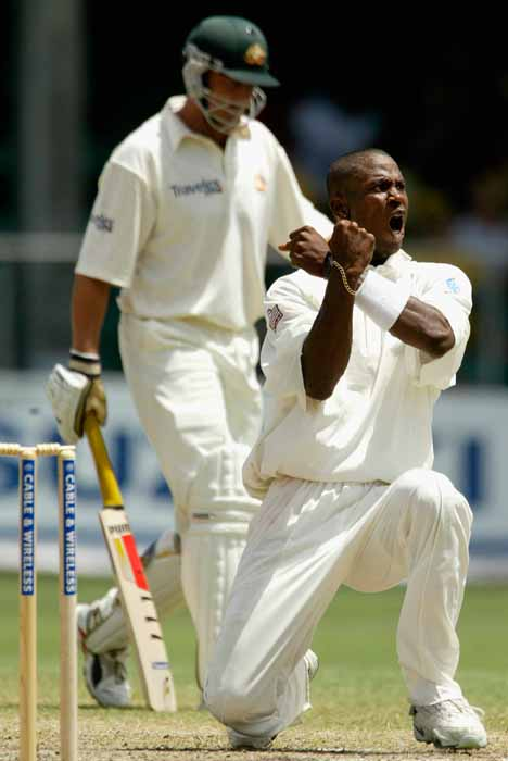 Omari Banks of the West Indies celebrates the wicket of Adam Gilchrist of Australia. Photo by Hamish Blair/Getty Images