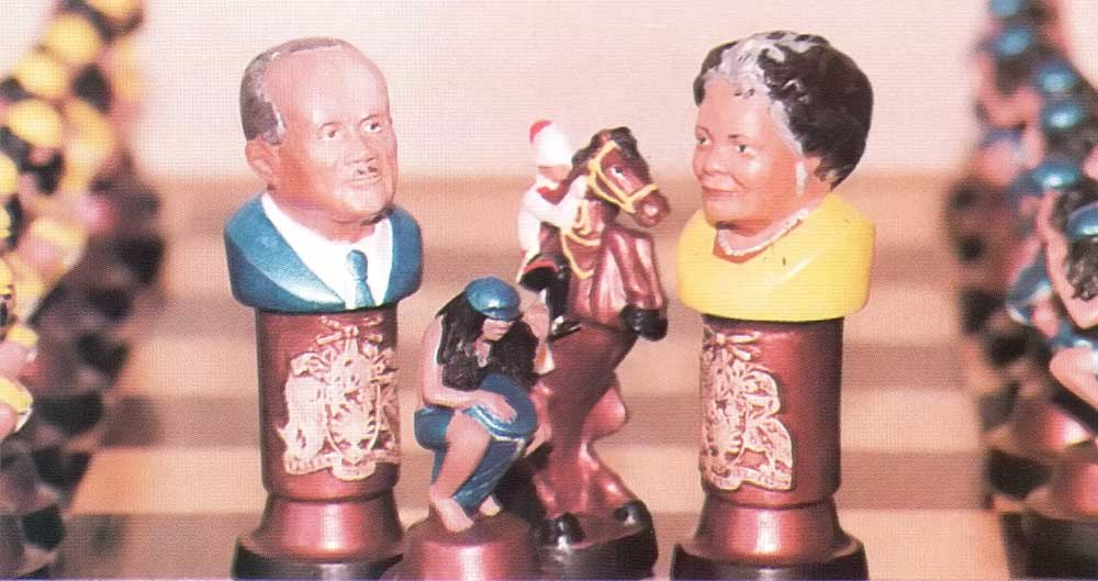 The king and queen of Arthur Edwards's chess set: the late Sir Grantley Adams and Governor General Dame Nita Barrow. Photograph by Roxan Kinas