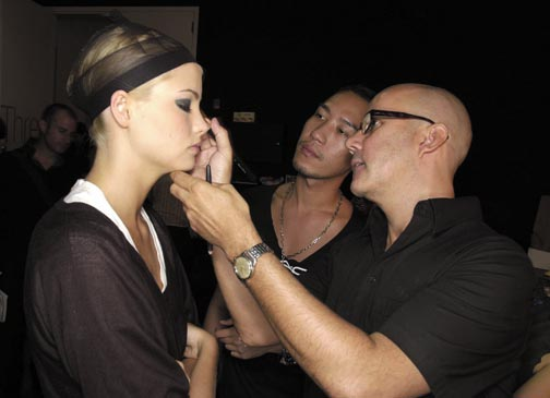 At work backstage at the Ruffian Spring 2005 show. Photograph courtesy MAC Cosmetics