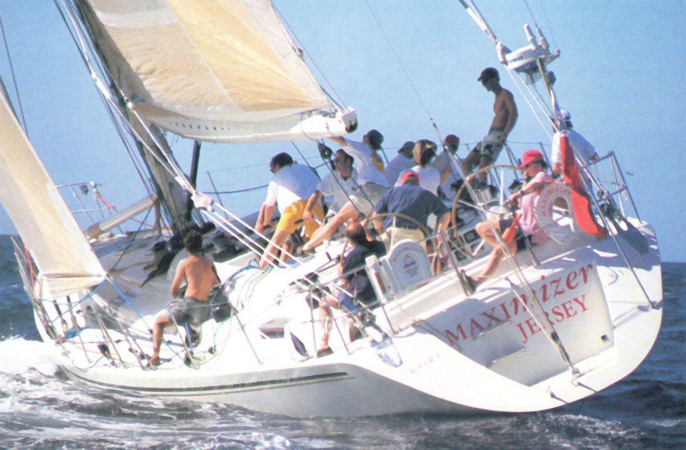 British yacht Maximizer at the starting line.  Photograph by Andrea Falcon
