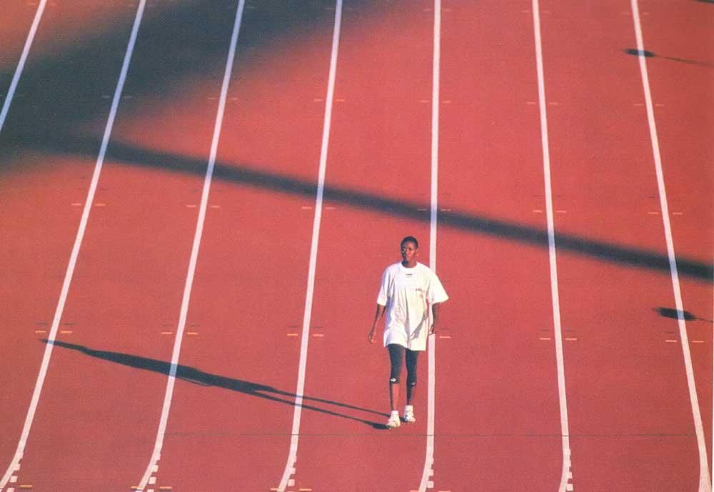 Challenge: Merlene at the 100 metres heats in Stuttgart. Photograph by Allsport/ Simon Bruty