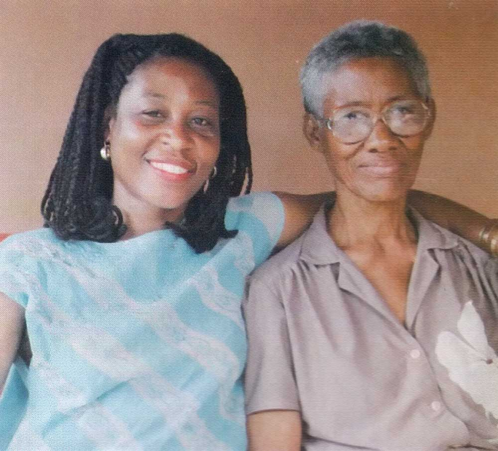 Proud family- sister Agnes and mother Pearl. Photograph by the Trinidad Guardian