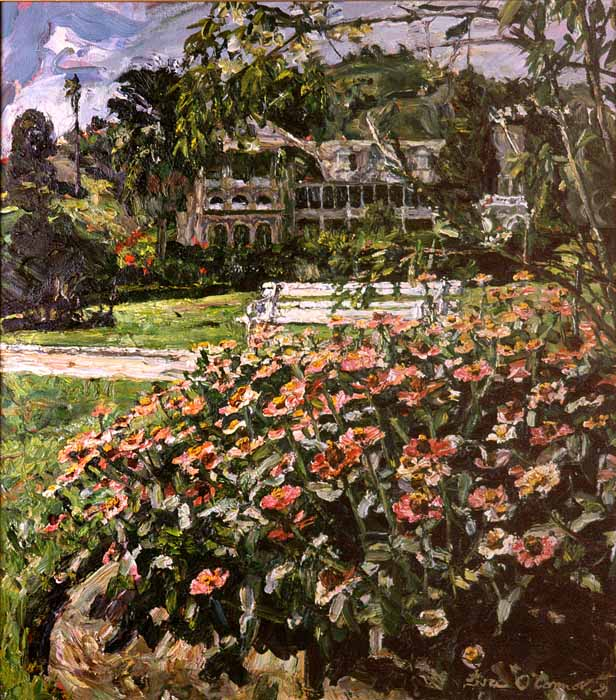 Flowers in the President's Gardens. Painting by Mark Lyndersay