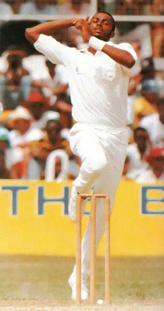 Batsman's eye view of an approaching missile from West Indies fast bowler Courtney Walsh. Photograph by Gordon Brooks