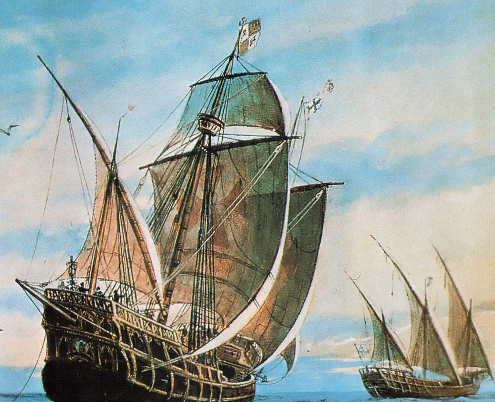 Colón's three caravels head into the unknown. Photograph by Mary Evans Picture Library