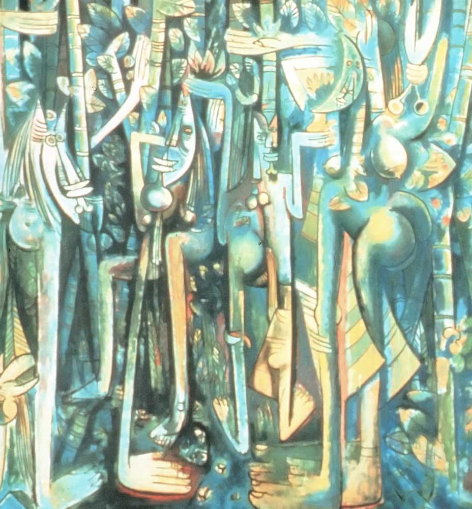 Lam's masterpiece The Jungle (1943, 94.25 x 90.5 inches, oil on reinforced paper). The Studio Museum in Harlem