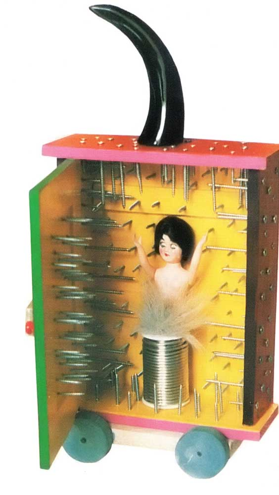 Ofeila Rodriguez, a London-based Colombian artist, contributed Caja Magica Paseadora con Mujer Sufrida (Mobile Magic Box with Suffering Woman). Photograph by Christopher Cozier