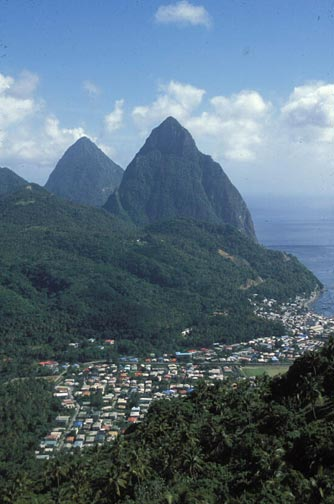 Soufriére and the Pitons. Photograph by Mike Toy