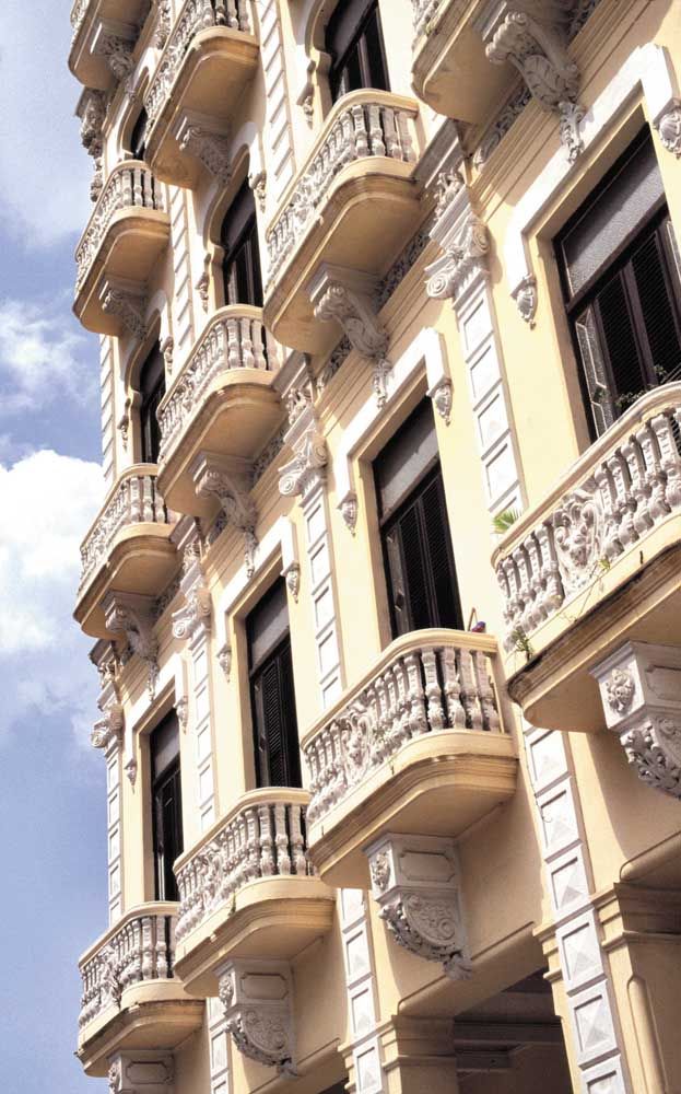 Ornate balconies in Habana Viejo. Photograph by Sean Drakes