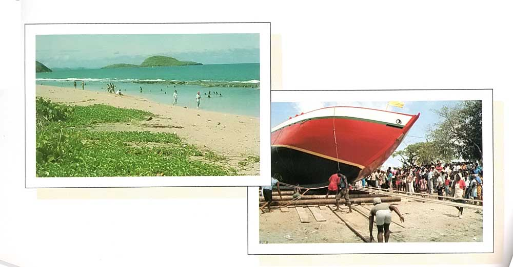 Bataway (left), and a boat launching in Carriacou (right). Photograph by Jim Rudin