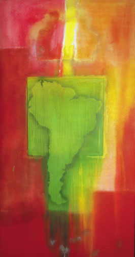 Mother's House in South Africa (1968), acrylic on canvas, by Frank Bowling. Photograph by courtesy inIVA