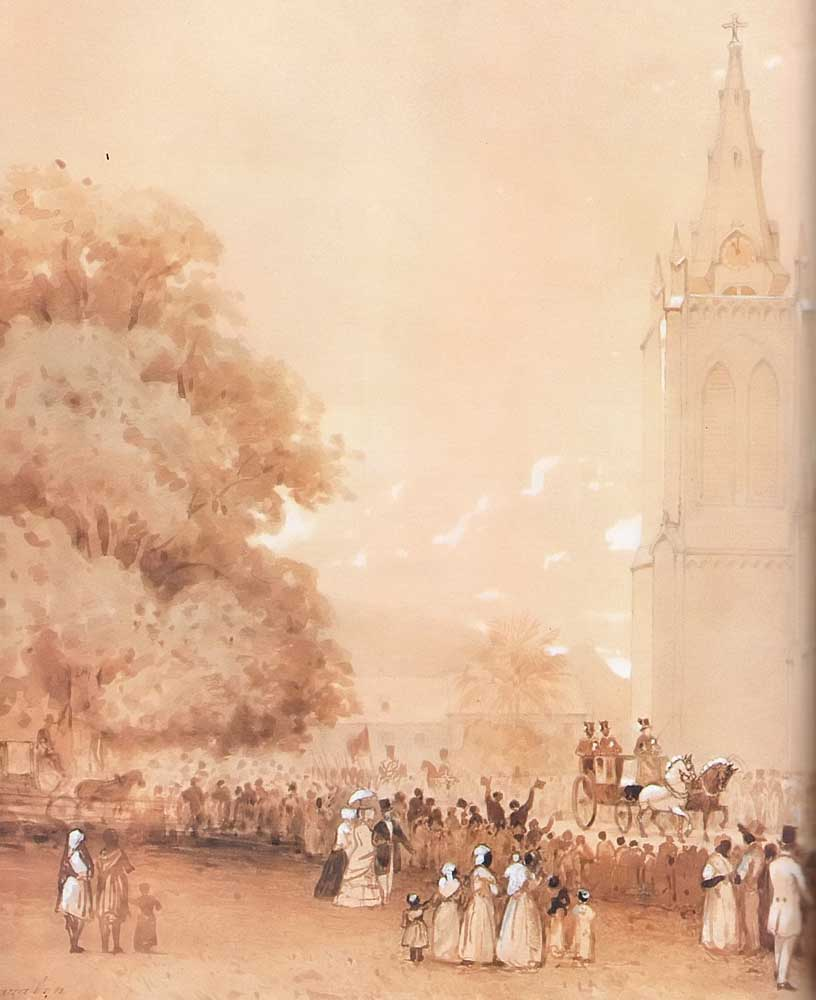 The Wedding of Lord Harris at Trinity Church, Port of Spain (sepia watercolour 1850, 290 x 380 mm)