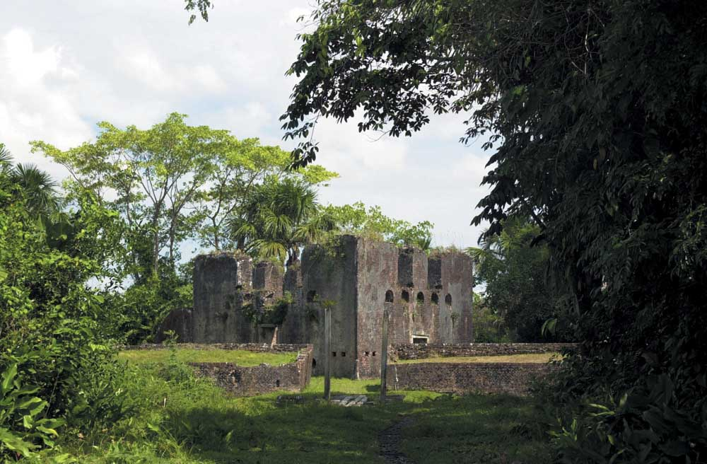 A ruined Dutch fort, relic of Guyana's early colonial history. Photograph by Ian Brierley