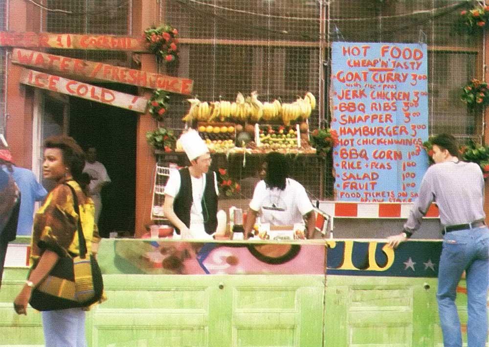 Food stall at London's Notting Hill carnival. Photograph at Rohith Jayawardene