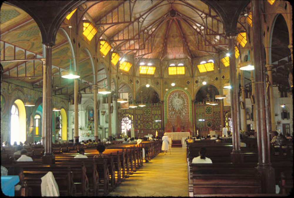 Interior of the Cathedral of the Immaculate Conception in Castries. Photograph by Mark Lyndersay