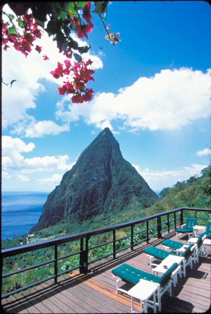 Petit Piton, seen from the pool deck of the Ladera Hotel. Photograph by SeanDrakes.com