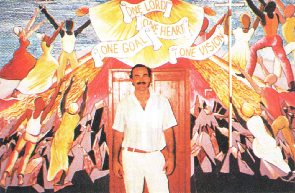 Honychurch the painter has created religious murals for seven of Dominica's churches. Photograph courtesy Honychurch