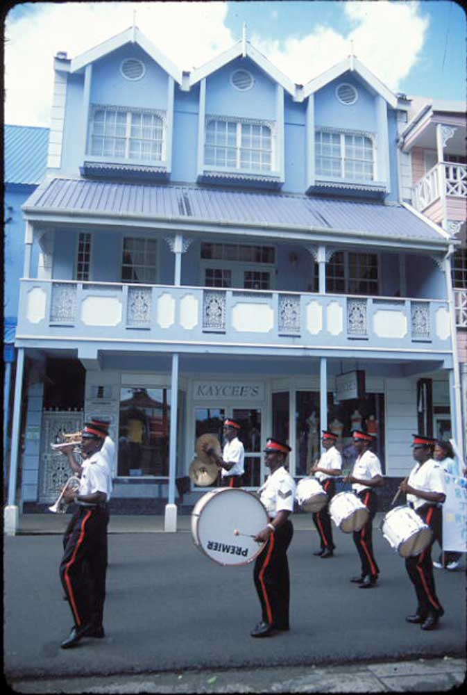 Street parade in downtown Castries. Photograph by Mark Lyndersay