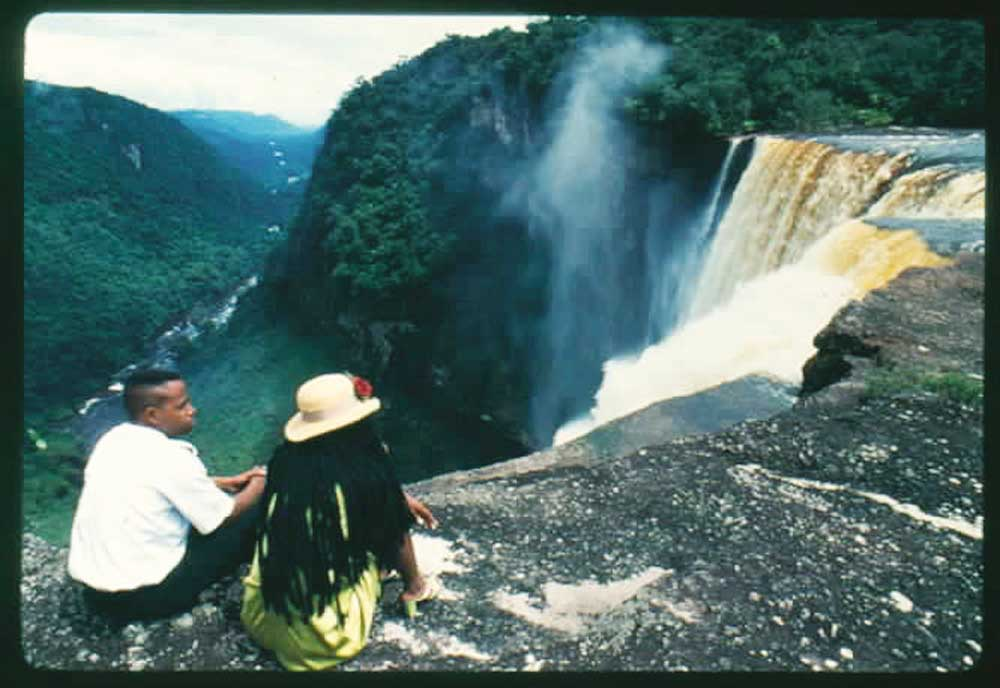 At Kaieteur's brink. Photograph courtesy the Tourism and Hotel Association of Guyana