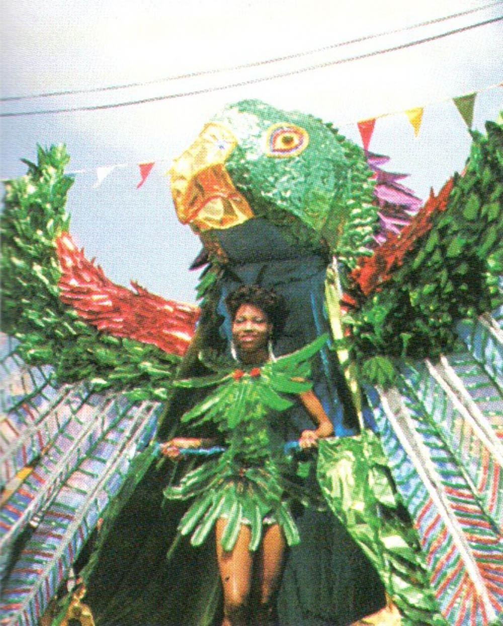 Lennox Honychurch's depiction of Dominica's national bird, the Sisserou parrot, takes the streets of Roseau. Photograph courtesy Lennox Honychurch