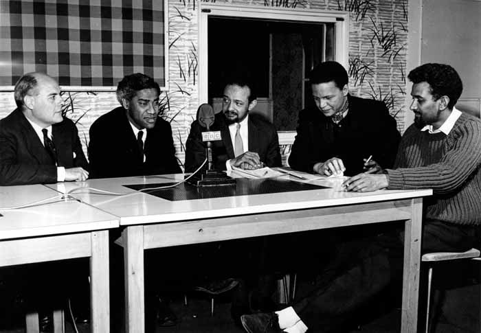 Swanzy in the studio with (from left) George Lamming, Andrew Salkey, Jan Carew, and Sam Selvon. Photograph by BBC Photograph Library