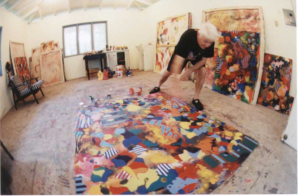 Rex Dixon at work in his Maracas Valley studio. Photograph by Bruce Paddington