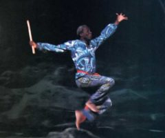Outward reach: Rex Nettleford dancing in the National Dance Theatre Company of Jamaica's production of Kumina. Nettleford is the company's founder and principal choreographer. Photograph by Jacqueline Gannie
