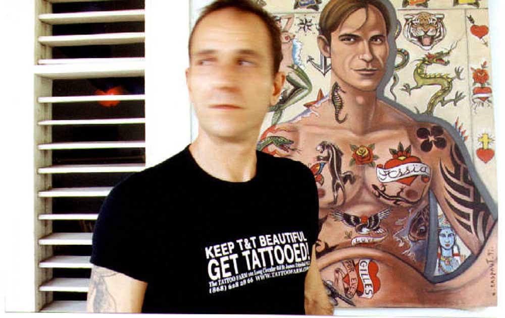 Tattoo artist Giles Budin at his studio. Photograph courtesy Tattoo Farm/ Alexis Smailes