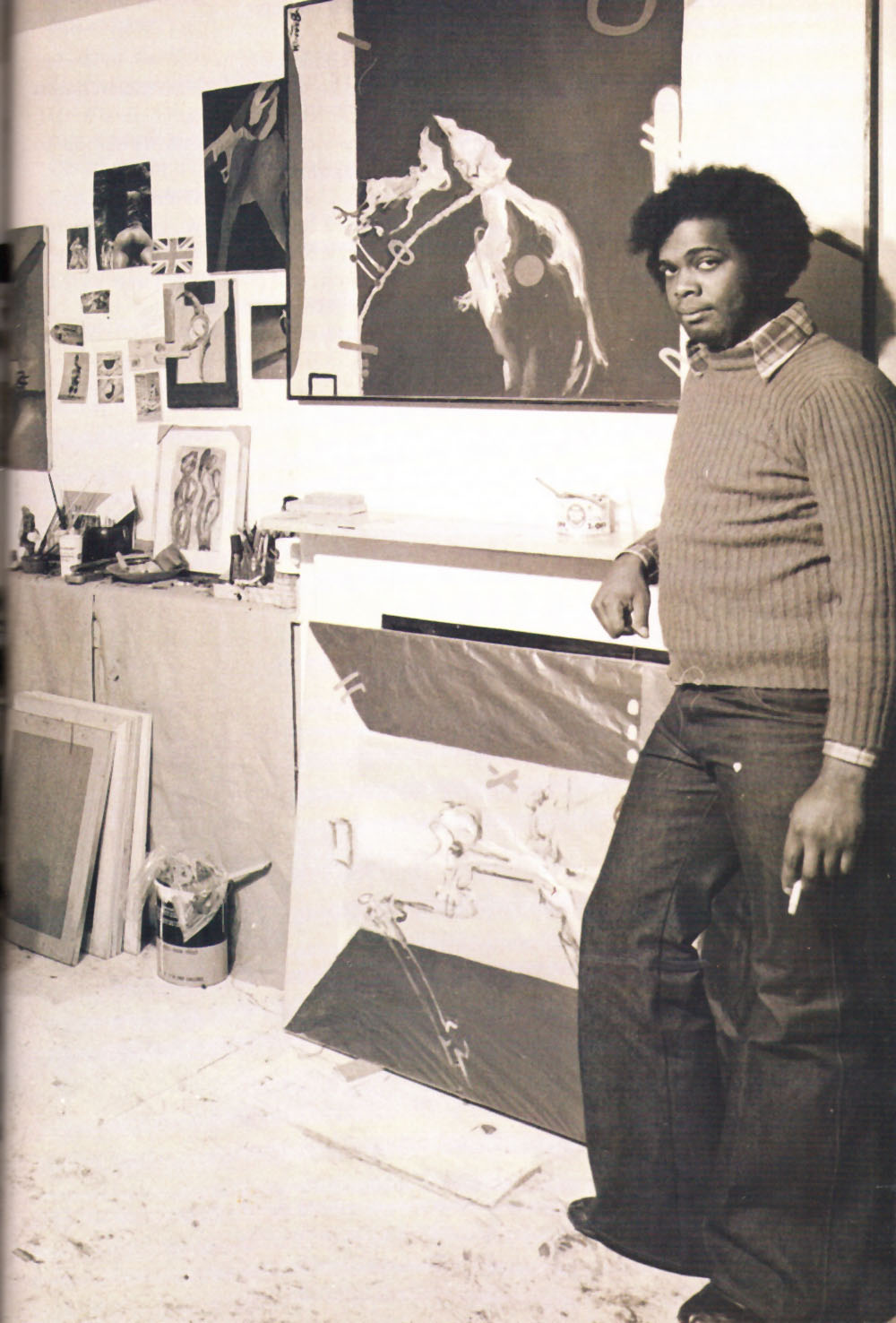 Branch as a young artist in London- he worked there in a Battersea studio from 1969 to 1975. Photograph courtesy Winston Branch