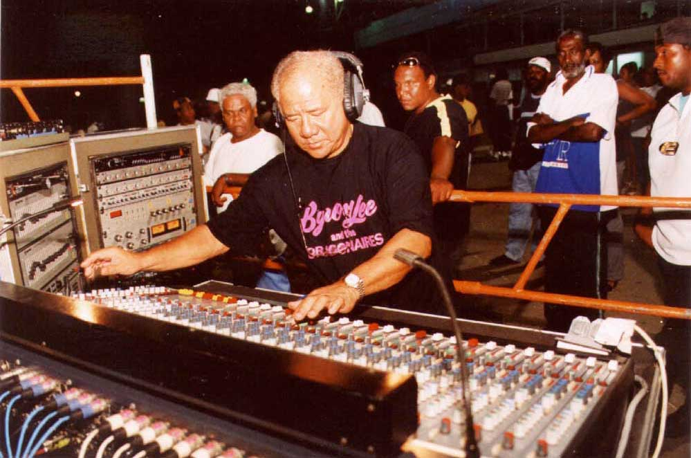 Byron Lee at the mixing board. Photograph courtesy Trinidad Publishing Company Ltd.