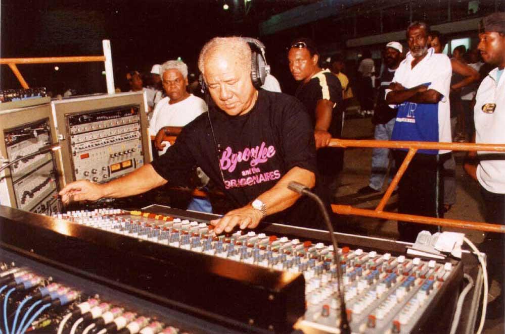Byron Lee at the mixing board. Photograph courtesy Trinidad Publishing Company Ltd.