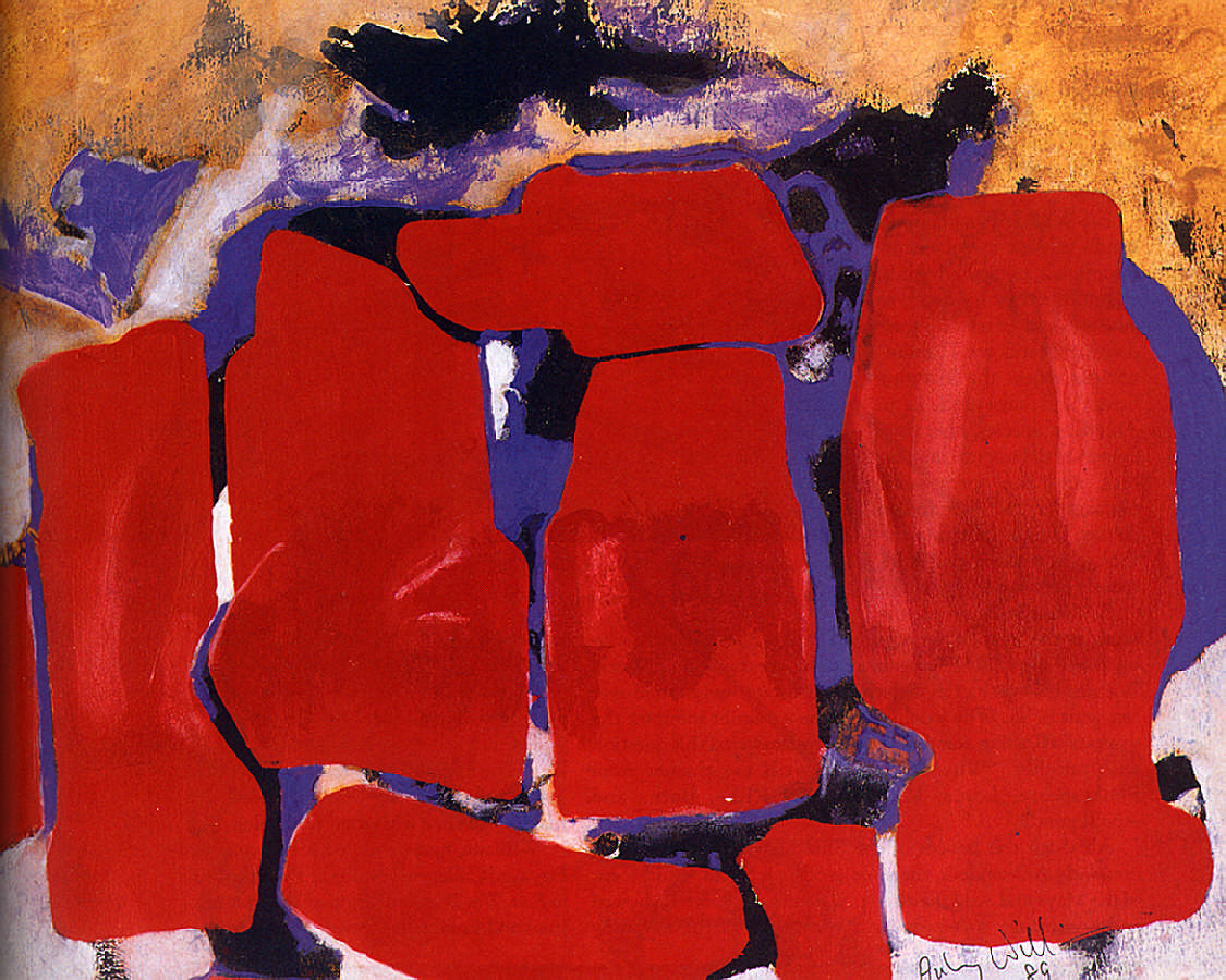 Red Henge (1989: acrylic on paper, 48 x 61 cm.) Photograph courtesy the October Gallery London