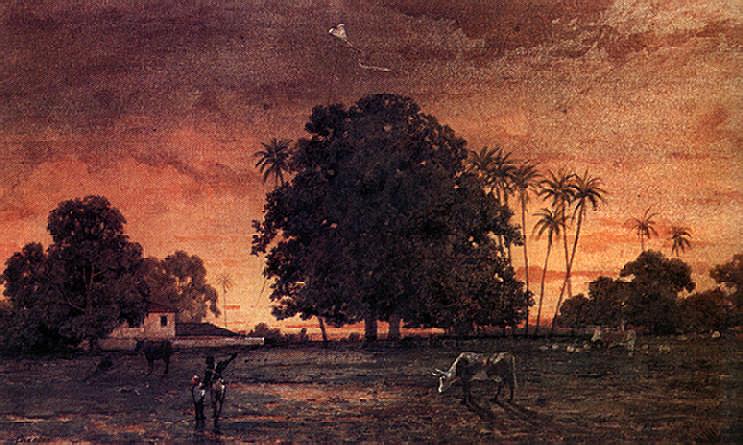 Boy with Kite, Queen's Park Savannah, Port of Spain by Cazabon