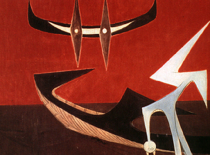Pasos miméticos (1950, 43×53 inches, oil on canvas). Photograph by The Studio Museum in Harlem.