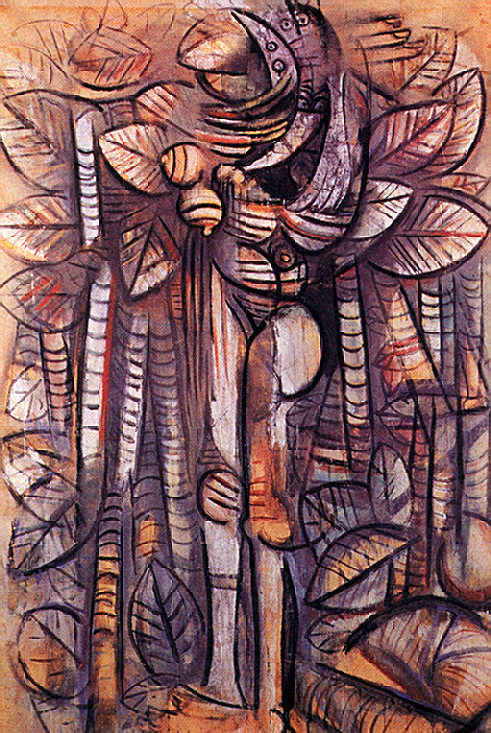 Light of the Forest (1942, 192 x 124 cm, tempera on paper). The Studio Museum in Harlem