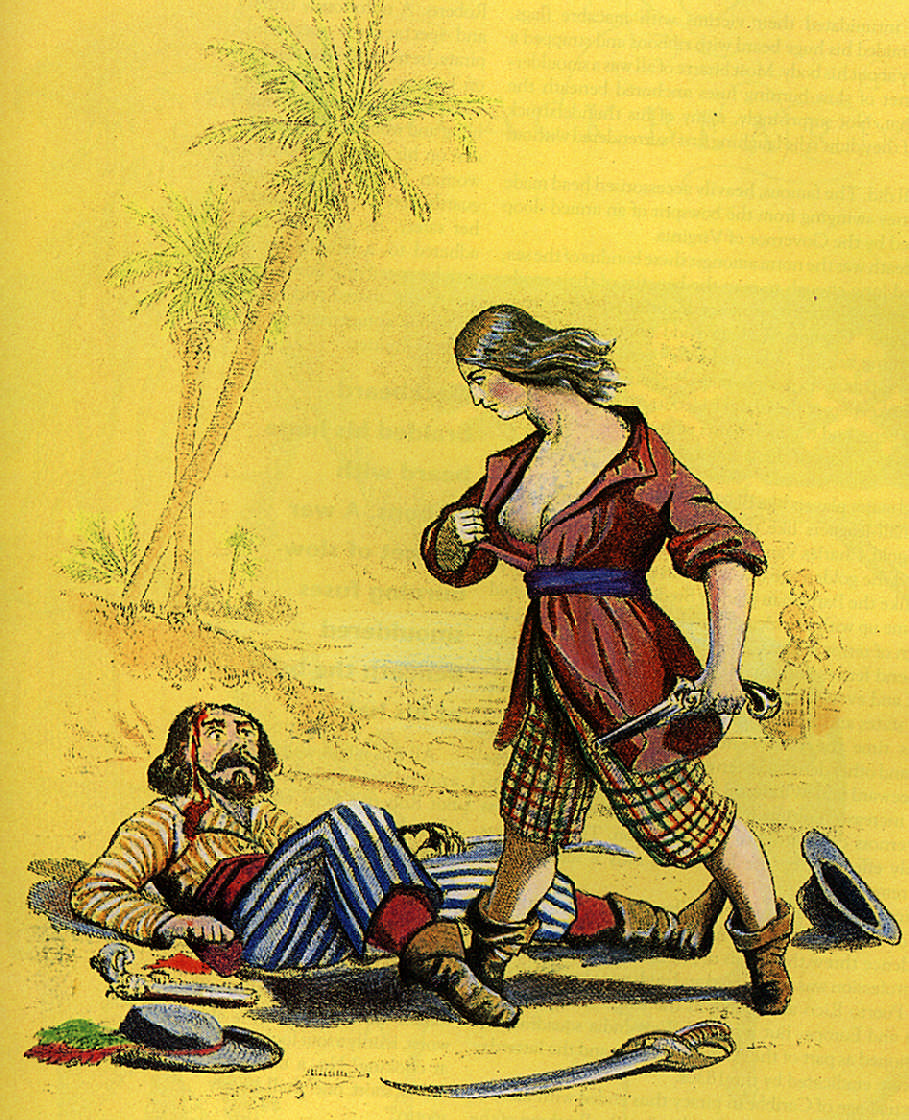 The last straw- finding that the ruthless pirate with the smoking pistol was a woman. Illustration by Sally A. Davies