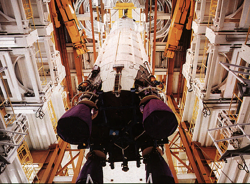 Ariane in the vehicle assembly bay. Photograph by Arianespace