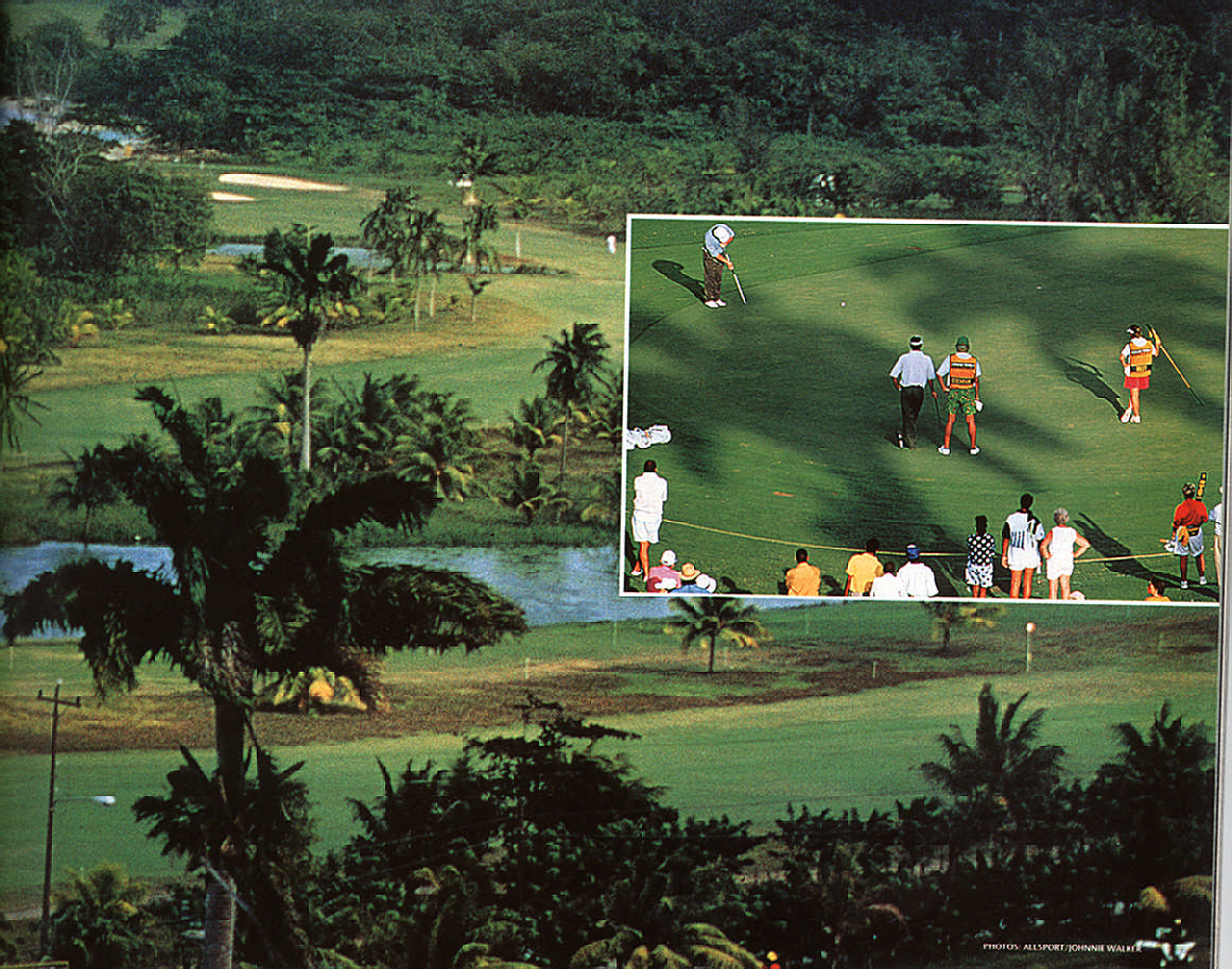 Jamaica's Tryall Club near Montego Bay; in the shadow of the palms (inset).  Photograph by Allsport/ Johnnie Walker