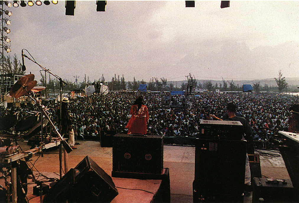 Grey day, red-hot music: the Sunsplash crowd. Photograph by Dreamy Riley