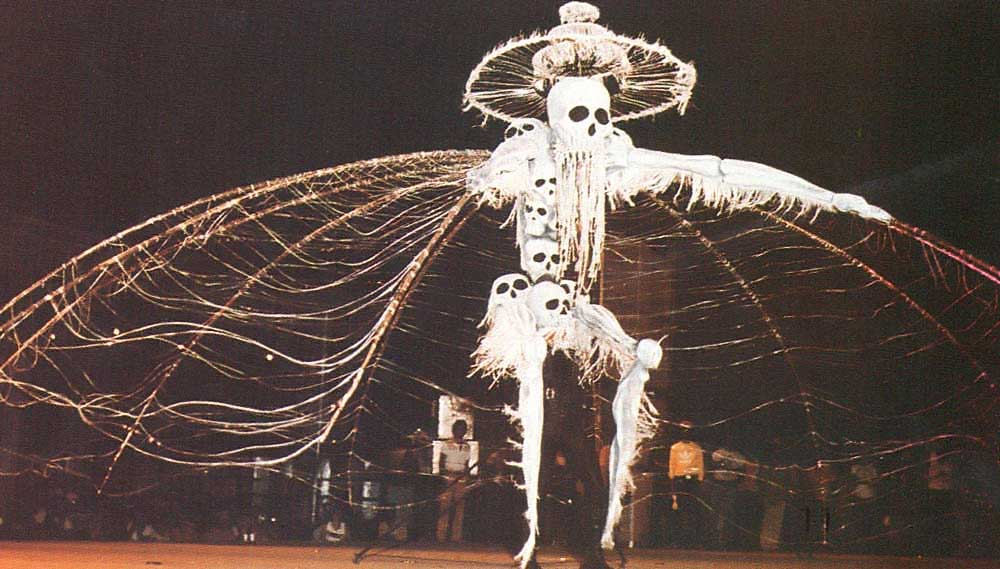 Midnight Robber: this radical re-interpretaton of a traditional Carnival character brought dark new overtones into the mas. Played by Peter Samuel, this was the king of Danse Macabre (1980). Photograph by Noel Norton