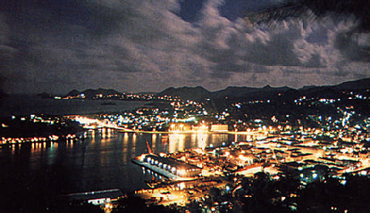 Castries at night, from The Morne. Photograph by Chris Huxley